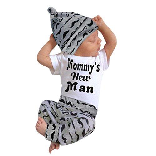 Babyanzug, Sonnena 3pcs Bekleidungssets Baby Kleikind Druck Strampler T-Shirt Tops + Bart Print Langhosen + Hut Outfit Set Niedlich Sommer Ärmellos Baumwolle Kleidung Set Babyanzug (0/3M, Schwarz)