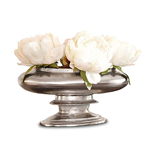 Loberon Vase Loyère, Aluminiumguss, H/B/T ca. 24/48 / 35 cm, antiksilber