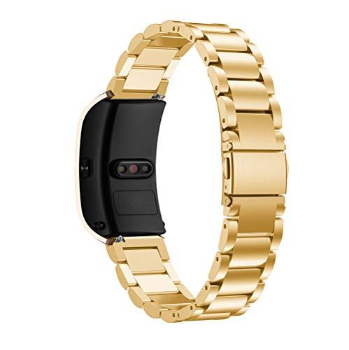 MNRIUOCII Reloj Correa de Acero Inoxidable Banda de Reemplazo Tres Hebilla de Cuentas Diseño Correa Wrist Strap Replacement Band para Relojes Hombre Mujer(sin Reloj)