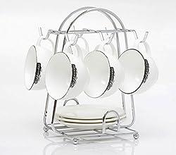 Generic Kitchen Metal 6-cup Mug Stand Tea Coffee Cup Holder Dish Storage Tray Rack Kitchen Applies Accessories