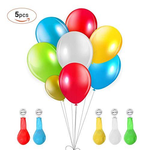 TURATA LED Luftballon 5 Stück leuchtende Ballons Blinkendes Licht Bunte schöne Ballons mit 5 Farbe kostüme für Weihnachten Party Geburtstag Fasching Valentinstag