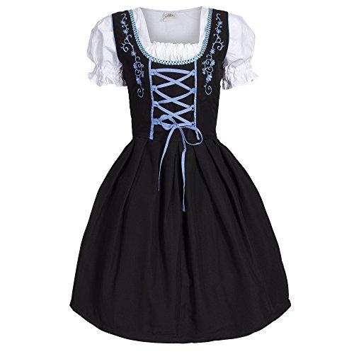 Dirndl 3 tlg.Trachtenkleid Kleid, Bluse, Schürze, Gr. 42 schwarz blau -