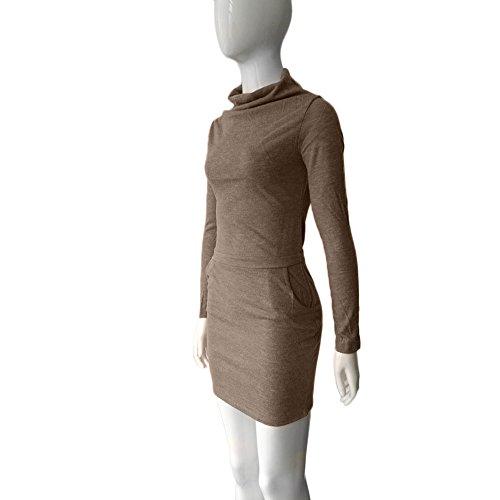 Ouneed® Femme Sweat - Shirt Robe Moulant Marron