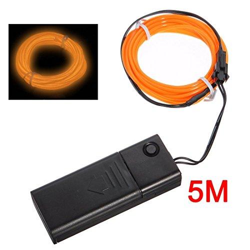 TOOGOO(R)Orange flexible Fil EL Neon Light 5M Dance Party Decor + Controller