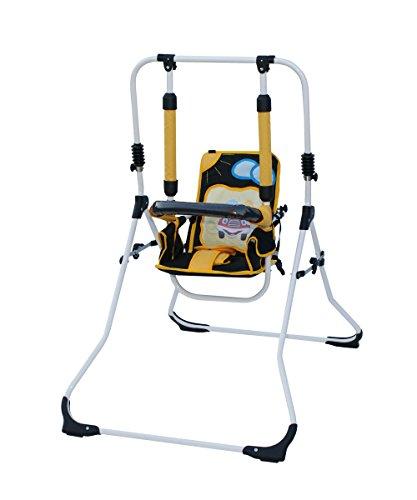 Clamaro 2 in 1 Babyschaukel \'SWING\' Indoor Baby Schaukel und Hochstuhl in einem, Sicherheitsgurt mit Bügel, gepolsterter Sitz, kompakt zusammenklappbar - Motiv: Auto
