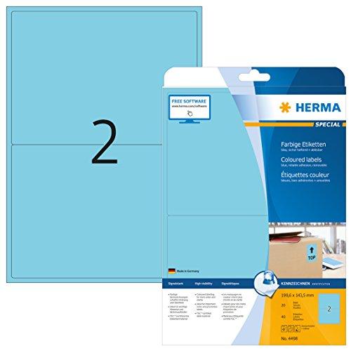 Herma 4498 Farbetiketten ablösbar (199,6 x 143,5 mm auf DIN A4 Papier matt) 40 Stück auf 20 Blatt, blau, bedruckbar, selbstklebend (20 Farb-tv)