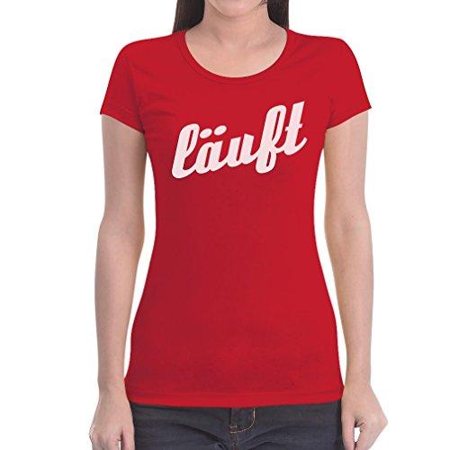 Kultspruch Läuft in sportlicher Schrift Frauen T-Shirt Rot