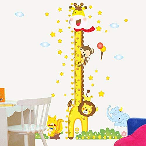 MIYAA Kinder Messlatte,Happy Giraffe Höhenmessung Chart Dekoration Kinderzimmer Kindergarten Hintergrund und Home Wand Dekoration Datensatz Kind Wachstum Tabelle