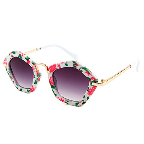 Rekkle Polygonal Kinder Sonnenbrillen für Kinder Jungen Mädchen AC Objektiv Sonnenbrillen Kunststoffrahmen UV 400 Sonnenschutz Baby-Brillen