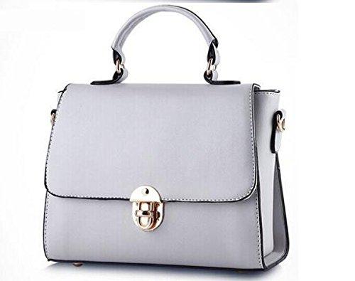 DFUCF Damen PU Mode Lässig Büro Beruf Umhängetasche Kuriertasche Schiefer Tasche Handtasche Aktenkoffer Langlebig Gray