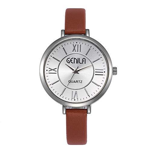 LuckhomeUnisex Quarz Analog Uhren Armbanduhr Einfache Design Uhr für Mann Frauen Simple Style Fashion Casual Damenuhr Quarz Uhr Lederband Uhr(rot)