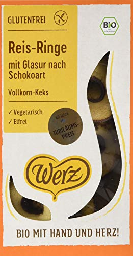 Werz Reis-Ringe mit Glasur nach Schokoart, Vk-Keks, glfr, 3er pack (3 x 125g) - Tee-ring-cookies
