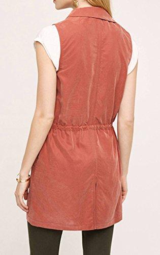 Smile YKK Veste Sans Manche Femme Manteau Automne Printemps Tailleur Moulant Cordon Casual Rouge
