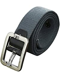 sourcingmap Men Outdoor Leisure Woven Canvas Pin Buckle Waist Belt 37mm Width 1.5inches