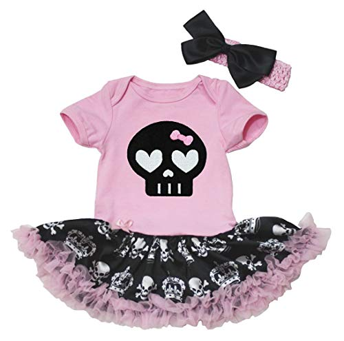 Petitebelle Halloween Vestido Negro Calavera Pelele de algodón...
