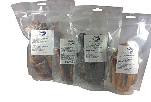 Kausnacks für Hunde Mix 1 - Ochsenziemer,Geflügelmägen,Rindernackensehne und Rinderstrossen Mix - im praktischen wiederverschließbaren Beutel