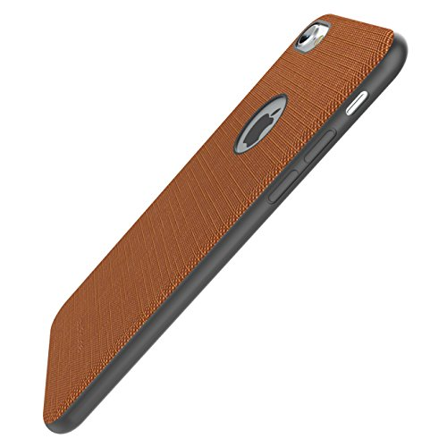 iPhone 7 Canvas Fabric Case Ultra-Slim Linen Cloth Textured Non Slip Case With Built-in Metal Sheet [ Compatible with Magnetic Car Mount Holder ] Scratch Resistant Protective Back Cover Bumper Shell f Marrone