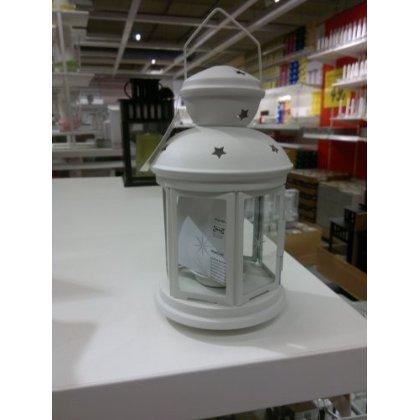 IKEA ROTERA farol para vela (blanco), apto para uso en interiores y al aire libre