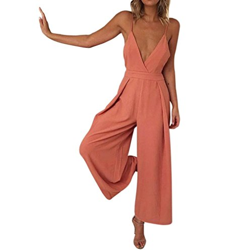 Elegant, Frauen Sommer Camisole Conjoined Weste Trägerloses Kostüm Party Abendkleid Tiefem V-Ausschnitt Lose Conjoined Bell Bottoms Hosen Frauen Casual (XL, Orange) ()