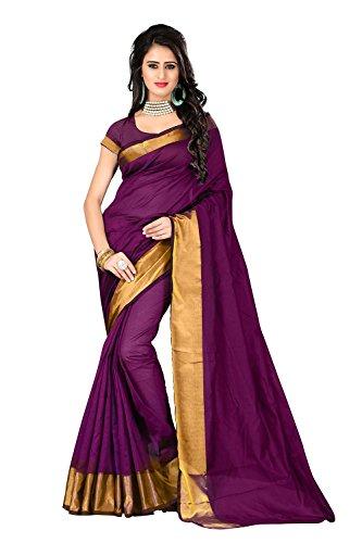 Perfectblue Cotton Saree (Pb0Purple Line_Purple)