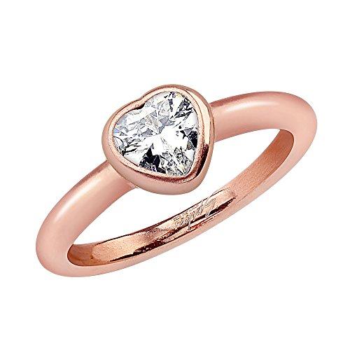 Piersando Damen Ring Verlobungsring Edelstahl mit weißem Herz Kristall Strass Stein Damenring Trauring Rosegold vergoldet Größe 60 (19.1)