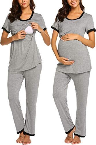 Unibelle Damen Stillpyjama-Umstandspyjama-Schlafanzug Zweiteilig Hausanzug Pyjamas Kurzen Ärmeln Lang Hosen mit Stillfunktion