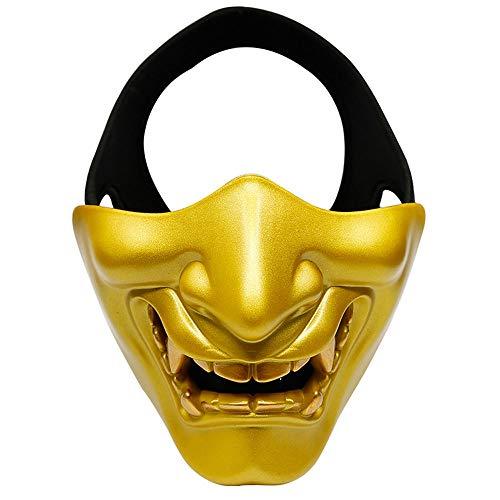 JFSKD Halloween Maske Taktische Maske COS Demon Horror Erwachsene Männer und Frauen Halbmaske Kostüm Party Maskerade Maske,Gold