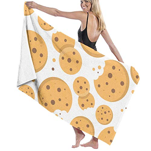 xcvgcxcvasda Serviette de bain, Beach Bath Chocolate Chips Cookies Personalized Custom Women Men Quick Dry Lightweight Beach & Bath Blanket Great for Beach Trips, Pool, Swimming and Camping 31