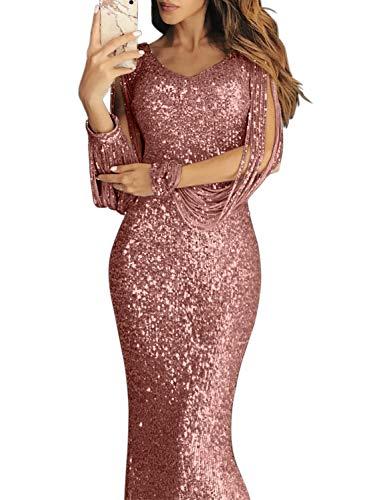 Dearlove Damen Festlich Hochzeit Kleider Glänzend Elegant Lang Abendkleider Langarm Figurbetont Cocktailkleider Maxikleider Pink M