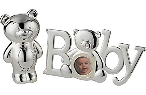 Little Ones, Silver Plated Teddy Bear Baby Picture Photo Frame and Money Box Gift Set (Cath Einfügen)