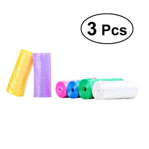 bestonzon 3rollos pequeños bolsas de recogida de con de las asas de corbata bolsas de plástico multicolores para el cuarto de baño cocina Salon oficina (color aleatorio)