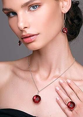 Bijoux en émail, bijoux rouge, ensemble de bijoux de fleurs, bijoux de mariage, ensemble de mariage en argent, ensemble de bijoux de mariée