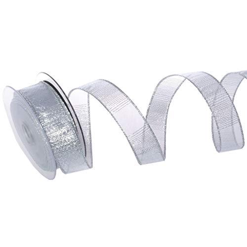 Organzaband Glamour-Stripes - Silber - mit Drahtkante - Weihnachten - Schleifenband - Dekoband - ca. 25 mm Breite - 10 m Länge - 93134-25-10-10