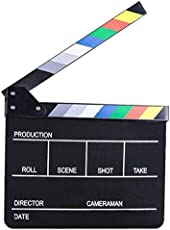 E-image Professional Black Clapper Board with Colorful Stripe Slate for Film Video Movie film Shooting (ECB-02)