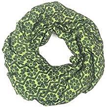 I was a Sari Women Wraparound Loop Scarf (IWA-000038-1_ Yellow & Green Color_H80 x L80 Cm)