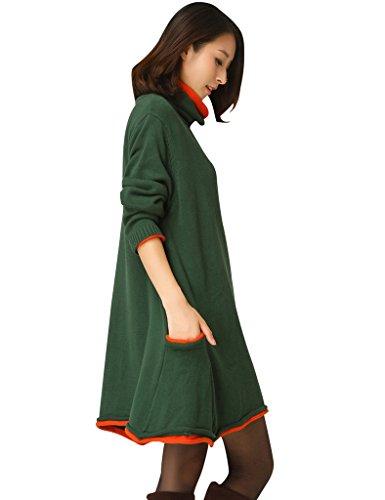Youlee Donna Collo A-line A Maglia Maglione Dress Jumper Vestito Army Green