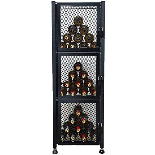 GCM Cabinet Stehender Weinschrank Eisennetz vertikal Dreistufiges Weinregal Industrielle Windanzeige Abschließbarer Weinkühler Für Küche, Weinkeller, Bar, Weinschau