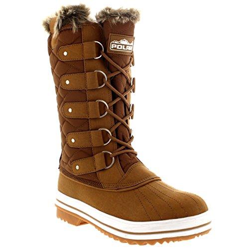 Damen Schnee Stiefel Nylon Tall Wasserdicht Gefüttert Regen Stiefel Bräune