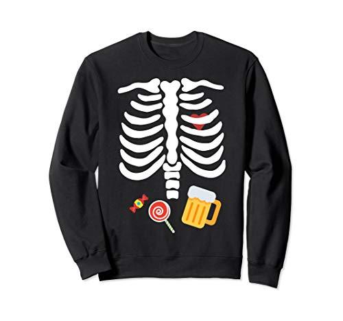 Halloween Skelett Kostüm mit Süßigkeiten & Bier Sweatshirt -