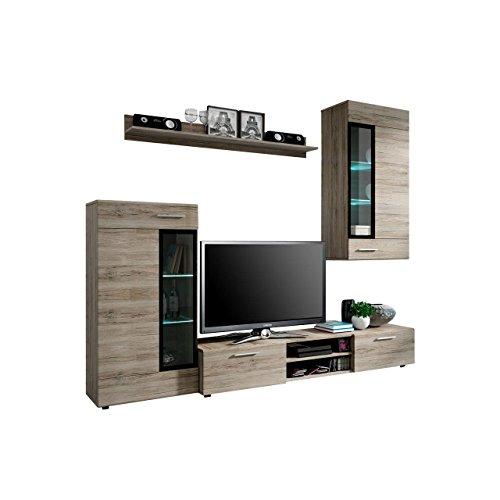 Wohnwand Twist, Design Modernes Wohnzimmer Set, Anbauwand, Schrankwand,  Vitrine, TV Lowboard, Mediawand, (Ohne Beleuchtung, San Remo Dunkel)