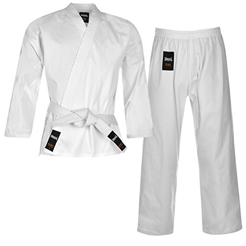 Lonsdale Kinder Karate Anzug Kampfkunst Kampfsport Kimono Karateanzug Baumwolle Weiss 13 (150)