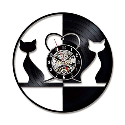 HTJXN Tabelle Runde Schwarze und weiße schöne Katze führte Rekorduhr hohlen kreativen und antiken Stil hängende Wanduhr Vinyl Record 3D Art Clock