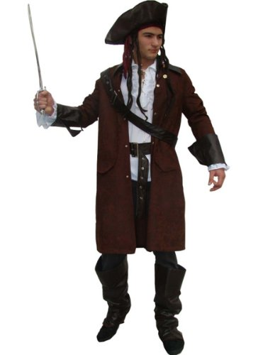 tenkostüm Kostüm Pirat Jack mit Hut und Zubehör Faschingskostüm Herren Größe L (Coole Piraten-kostüme)