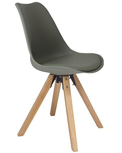 SAM Schalenstuhl Bojan, Zement-grau, integriertes Kunstleder-Sitzkissen, Gestell aus Eiche