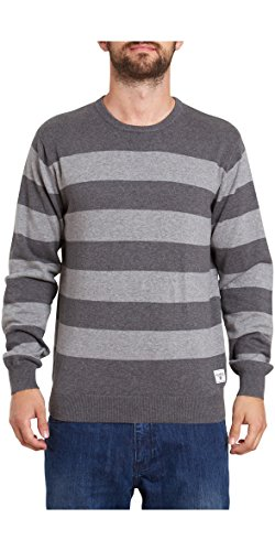2016 Billabong All Day Stripes Crew Neck Sweater MID GREY HEATHER Z1JP02 Sizes- - Medium