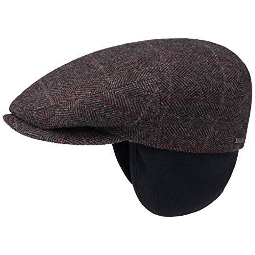 Stetson kent wool berretto paraorecchie cappello piatto berretti piatti 55 cm - marrone