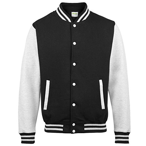 Just Hoods by AWDis Herren Jacke Varsity Jacket Jet Black/ Heather Grey