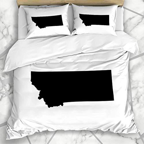 ZORMIEY Bettwäsche - Bettwäscheset Zustand-Karte wir Montana auf Freiheits-weißem abstraktem Amerika-Amerikaner-Bereichs-Schwarz-Land Mikrofaser weich dreiteilig Mit 2 Kissenbezügen 135 * 200