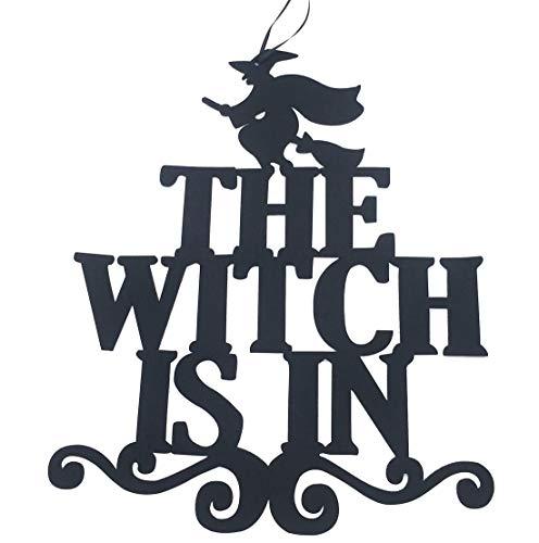 KOOTIPS Halloween-Willkommensschild zum Aufhängen mit Hexenhut Muster Dekoration Requisiten für Tür, Fenster, Bar, Einkaufsmäppchen, Halloween-Dekoration