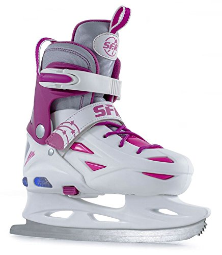 SFR Ice Skates Eclipse Light Up verstellbare Schlittschuhe weiß Kinder white-pink, 35.5 - 39.5